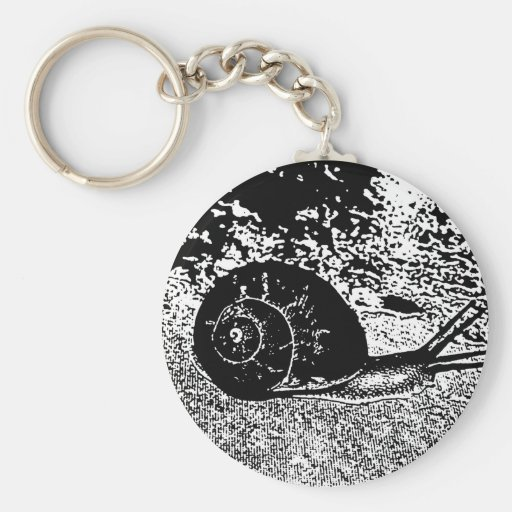 Snail in Black and White Basic Round Button Keychain