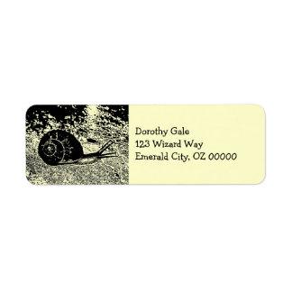 Snail in Black and White Return Address Label