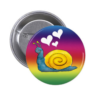 Snail in love | Colorful background Button