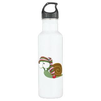 Snail in winter cap water bottle
