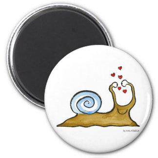 snail love 2 inch round magnet