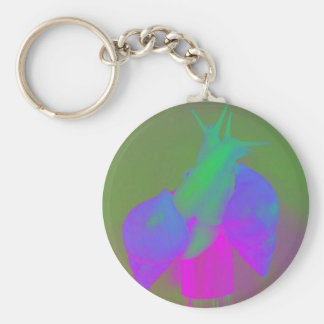 Snail love in pink green and purple basic round button keychain