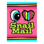 Snail mail brillante del amor del corazón I del oj Postales