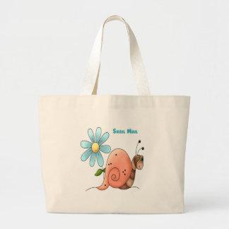 snail mail con la flor azul bolsa tela grande