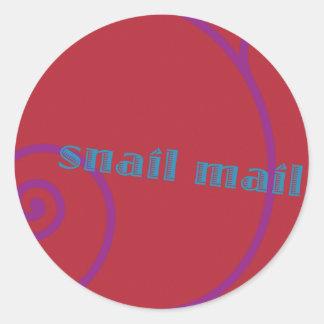 Snail mail de la fresa etiqueta redonda