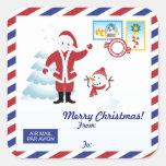 Snail mail de Papá Noel Pegatina Cuadrada