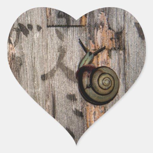 Snail mail Escargot en caligrafía asiática Pegatina En Forma De Corazón