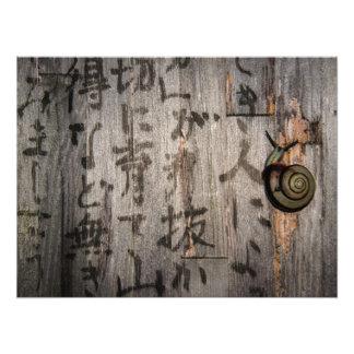 Snail mail Escargot en caligrafía asiática Fotografías