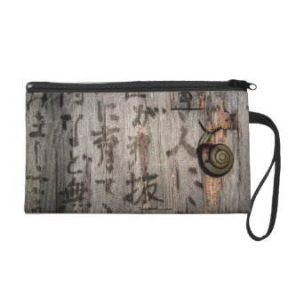 Snail Mail Escargot on Asian Calligraphy Wristlet Purse