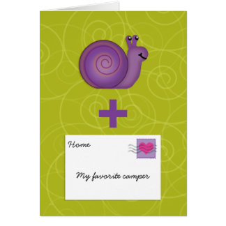 Snail Mail for Girl or Boy at Summer Camp Add Name Greeting Card