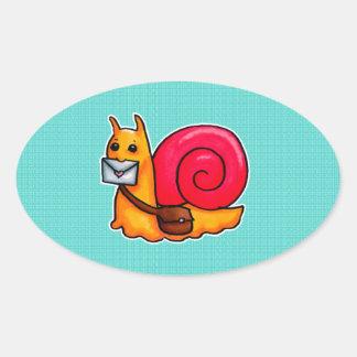 Snail mail oval sticker