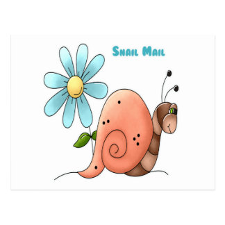 snail mail with blue flower postcard