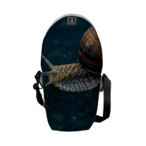 Snail On Blue Closeup, Nature Animal Photograph Courier Bag