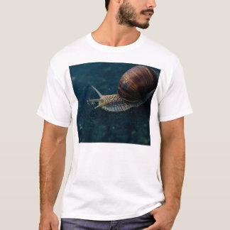 Snail On Blue Closeup, Nature Animal Photograph T-Shirt