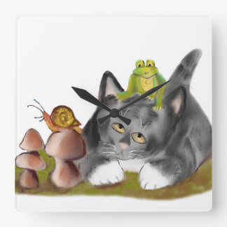 Snail on Toadstool with Frog on Kitten Square Wall Clocks