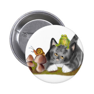 Snail on Toadstool with Frog on Kitten Pinback Button
