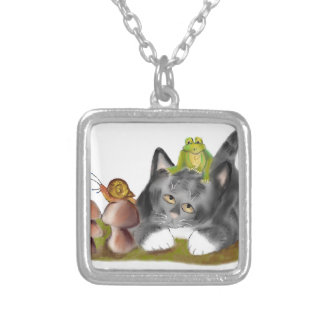 Snail on Toadstool with Frog on Kitten Silver Plated Necklace