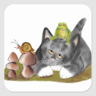 Snail on Toadstool with Frog on Kitten Square Sticker