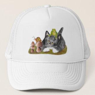 Snail on Toadstool with Frog on Kitten Trucker Hat