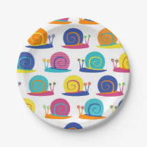 Snail Party Pattern Paper Plate