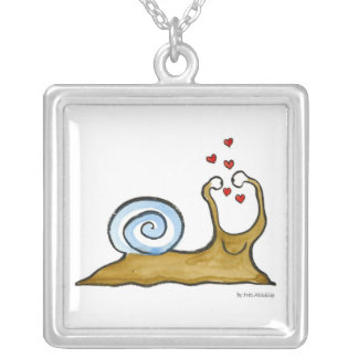 snail silver plated necklace