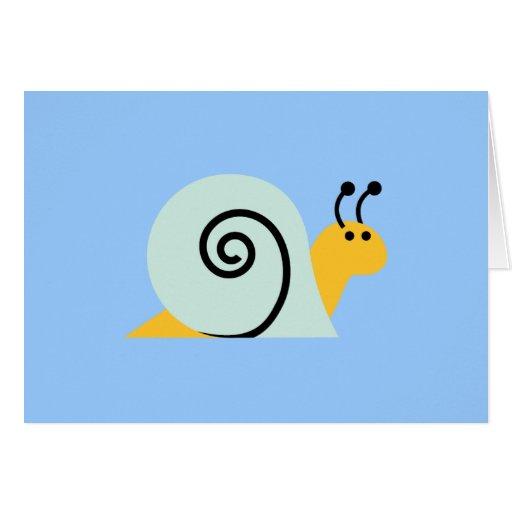 Snail Slugs Gastropoda Cute Cartoon Animal Greeting Card