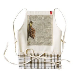 Snail Vintage Illustration On Old Dictionary Page Zazzle HEART Apron