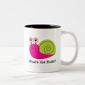 Snail What's the Rush Tshirts and Gifts Two-Tone Coffee Mug