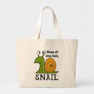 Snailing...when all else fails large tote bag
