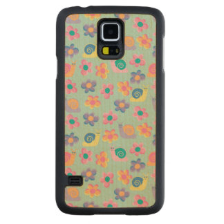 Snails and Flowers Carved Maple Galaxy S5 Case