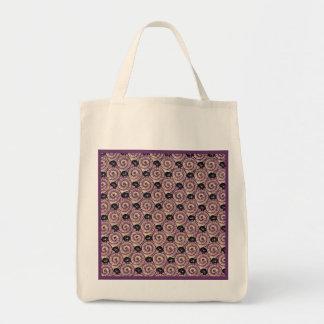 Snails and Flowers Mauve Purple Reusable Tote Bag