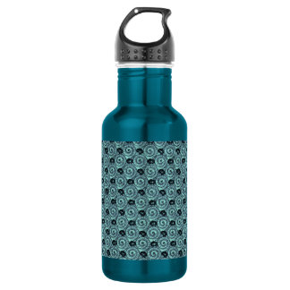 Snails and Flowers Teal Water Bottle
