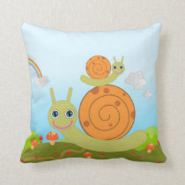 Snails and mushrooms throw pillow