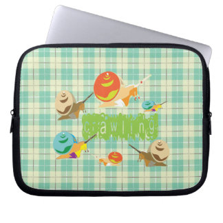 snails crawling laptop computer sleeves