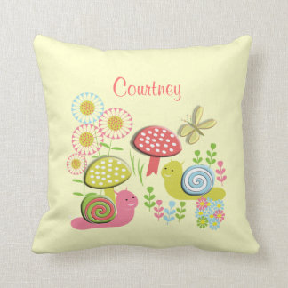 Snails Flowers Dragonfly Toadstools Personalized Throw Pillow