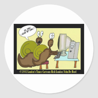 Snails Getting Email Funny Cartoon Gifts & Tees Classic Round Sticker