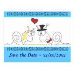Snails in love - save the date postcard
