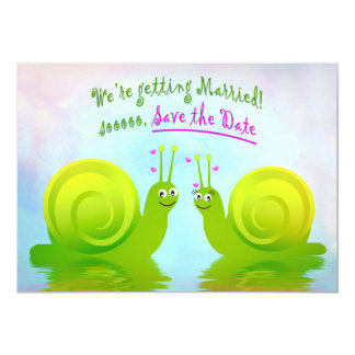 SNAILS IN LOVE - SAVE THE DATE - WEDDING NOTICE CARD