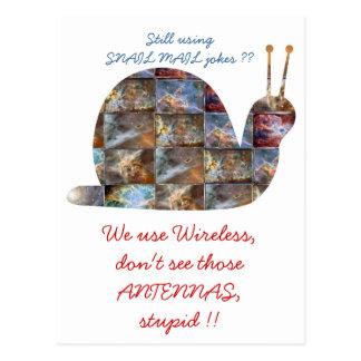 SNAILs use wireless, see those ANTENNAs Postcard