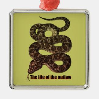 snake3 square metal christmas ornament