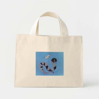 snake and butterfly blue mini tote bag