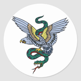 Snake and Eagle Classic Round Sticker