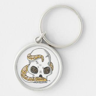 snake and skull (albino sand boa) keychain