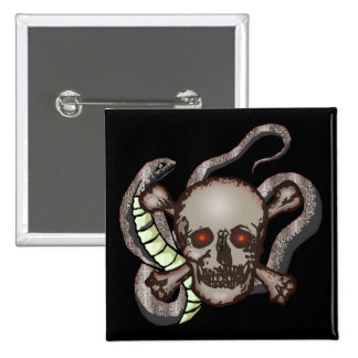 Snake and Skull Biker T shirts Gifts 2 Inch Square Button