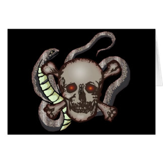 Snake and Skull Biker T shirts Gifts Card