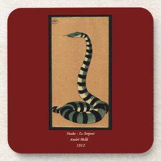 Snake - Antiquarian, Colorful Book Illustration Beverage Coaster