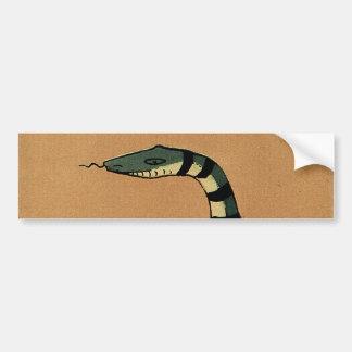 Snake - Antiquarian, Colorful Book Illustration Car Bumper Sticker
