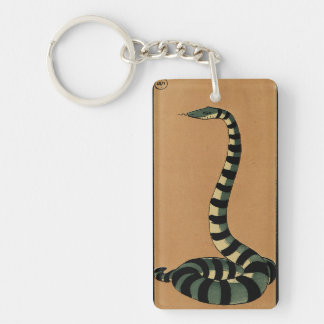 Snake - Antiquarian, Colorful Book Illustration Keychain