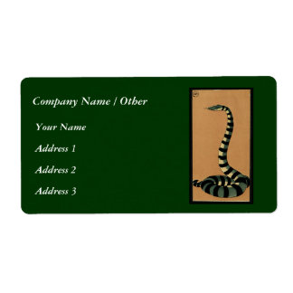Snake - Antiquarian, Colorful Book Illustration Label