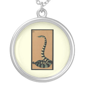 Snake - Antiquarian, Colorful Book Illustration Round Pendant Necklace